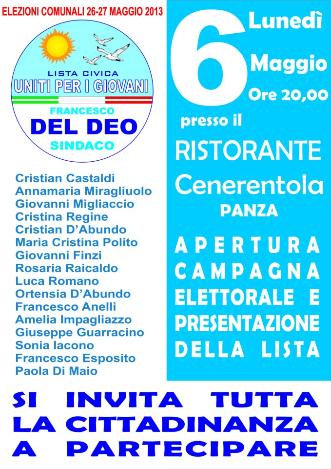 Uniti con i giovani - Apertura campagna elettorale @ Ristorante Cenerentola | Panza | Campania | Italia